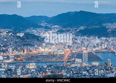 Panorama, panoramic, Townscape, Nagasaki, Japan. - Stock Photo