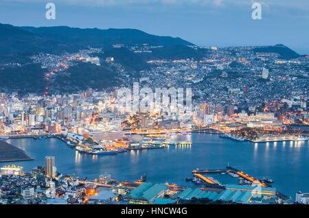 Panorama, panoramic, Townscape,Nagasaki, Japan. - Stock Photo