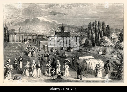 The Zoological Gardens, Regents Park, London – an old engraving c. 1830 - Stock Photo