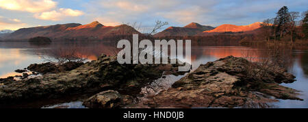 Misty dawn light over Cat Bells Fell, Derwentwater lake, Keswick, Lake District National Park, Cumbria County, England, - Stock Photo