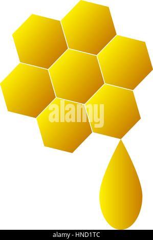 Honeycomb logo for company business. Isolated honeycomb icon on white background. Sweet honey on honeycomb. Flat - Stock Photo
