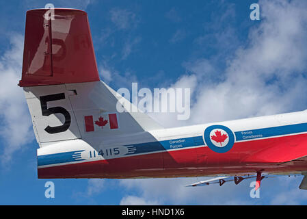 A Snowbird CT-114 on display at the Comox information centreHighway 19 at the Comox Valley Parkway on Vancouver - Stock Photo