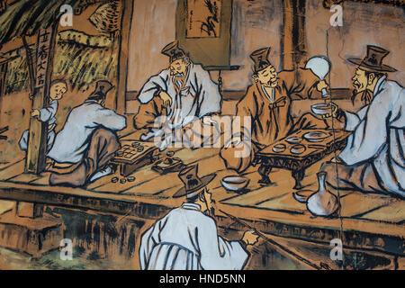 painting depicting an old, traditional Korean restauran in Samil daero street,Seoul, South Korea - Stock Photo