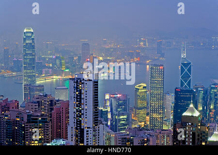 Night, Cityscape from the Peak,Hong Kong, China - Stock Photo
