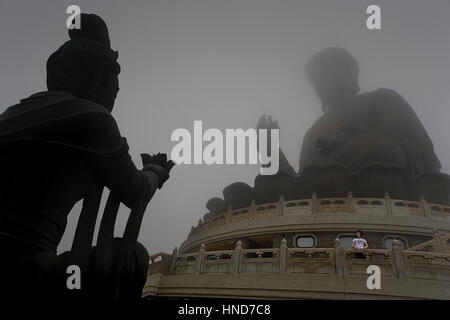 Giant Buddha in Po Lin Monastery. Lantau Island,Hong Kong, China - Stock Photo