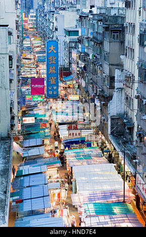 Shop, shops, Aerial view, view from above, overview, Temple Street Night Market,Kowloon, Hong Kong, China - Stock Photo