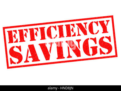 EFFICIENCY SAVINGS red Rubber Stamp over a white background. - Stock Photo