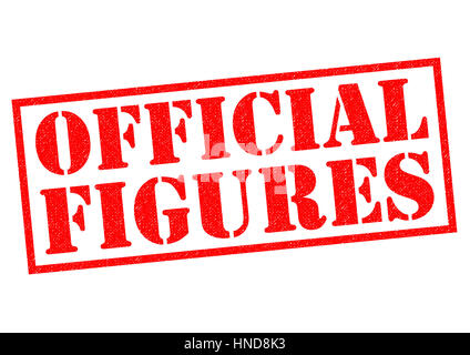 OFFICIAL FIGURES red Rubber Stamp over a white background. - Stock Photo