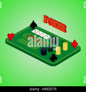 Casino set on a green background. Game table with a combination of cards, chips, money. Four of a Kind. Vector illustration - Stock Photo