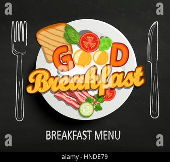 Good Breakfast lettering and hand drawn outline watercolor pan, fork and knife on textured black board background. - Stock Photo