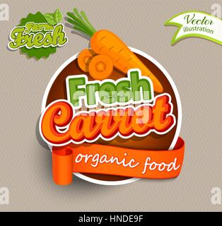 Fresh carrot logo lettering typography food label or sticker. Concept for farmers market, organic food, natural - Stock Photo