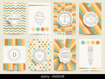 Set of Retro Insignias, Logotypes, brochures in vintage style. Design templates. Set of Business Signs and Logos, - Stock Photo