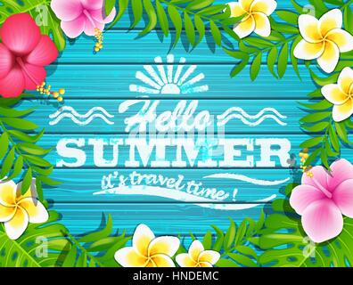 Hello summer - blue wooden background with tropical flowers and text, vector illustration. - Stock Photo