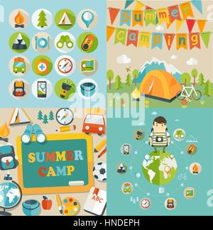 Summer Holiday and Travel themed Summer Camp posters and icons in flat style, vector illustration. - Stock Photo