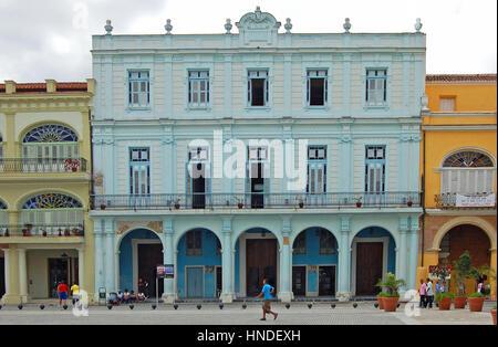 Facade of Casa del Conde San Estoban de Canongo, Plaza Vieja, City of Havana, Cuba - Stock Photo