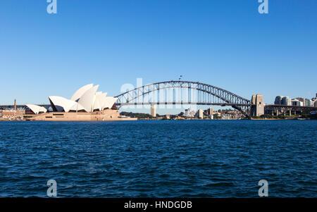 Sydney Opera House and Harbour Bridge, Sydney, Australia - Stock Photo