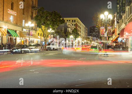 Looking down 5th Avenue at night in the Gaslamp Quarter. Downtown San Diego, California, USA. - Stock Photo