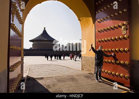 Selfie, woman, teenager, Temple of Heaven. Tiantan, gate, gateway,Beijing, China - Stock Photo