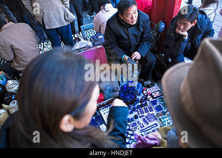 Jewelry store in Panjiayuan market,Beijing, China - Stock Photo