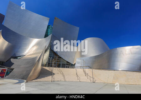 Los Angeles, AUG 23: Morning view of Walt Disney Concert Hall on AUG 23, 2014 at Los Angeles, California - Stock Photo
