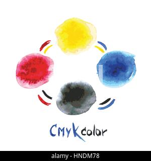 CMYK watercolor,hand painting, vector illustration - Stock Photo