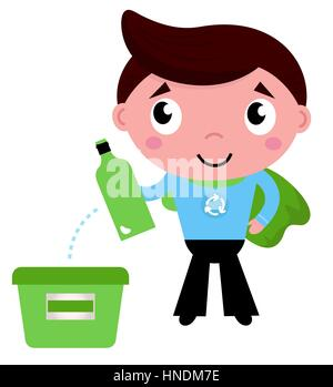 Kid with empty bottle in recycle bin illustration - Stock Photo