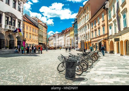 colorful street Ljubljana summer Lubiana buildings clean urban area care - Stock Photo