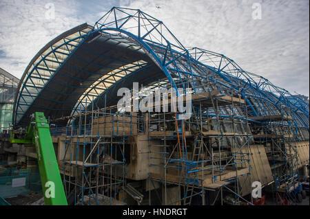 Construction work on the former Eurostar International Terminal at Waterloo Station, London, UK - Stock Photo