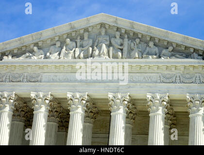 Inscription over the United States Supreme Court Building in Washington DC. - Stock Photo
