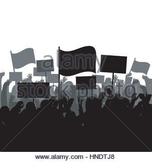 Silhouettes of protesting crowd - Stock Photo