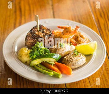 Grilled Steak and Shrimp - Stock Photo