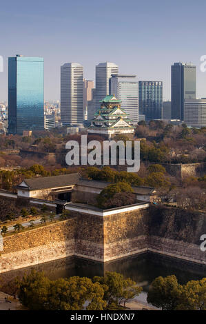 Panorama, panoramic, townscape, Osaka castle and Osaka Business Park,Osaka, Japan,Asia - Stock Photo
