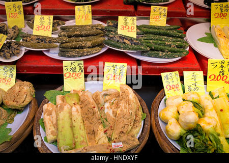 pickled, vegetables in Kuromon Ichiba Market,Osaka, Japan,Asia - Stock Photo
