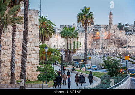 Walls and the Citadel of David in the Old City of Jerusalem, Israel - Stock Photo