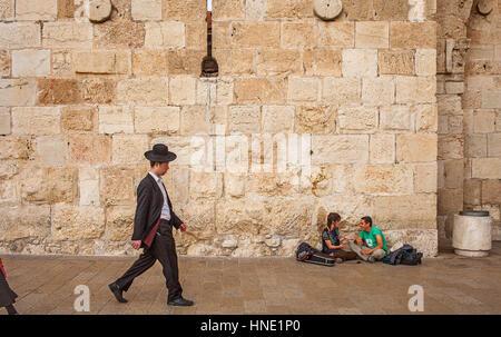 Street scene, in Town wall of Jerusalem near the Jaffa Gate, Old City, Jerusalem, Israel. - Stock Photo