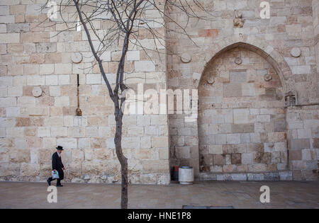 Rampart, Detail of wall, citywall,  close  Jaffa Gate, Old City, Jerusalem, Israel. - Stock Photo