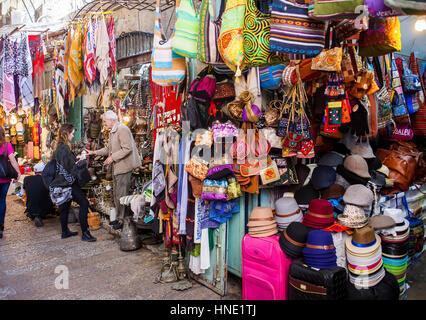 shop, shops, David street,Souk Arabic market in muslim Quarter, Old City, Jerusalem, Israel. - Stock Photo