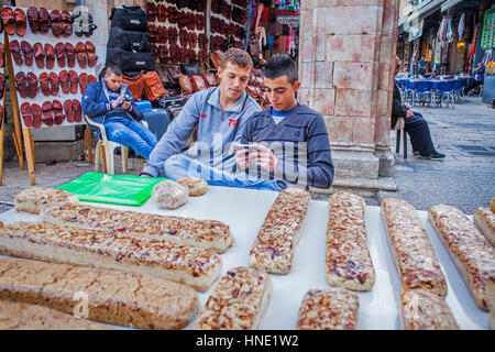 nougat, stall, in the market area of the Muristan called Suq Aftimos, Old City, Jerusalem, Israel. - Stock Photo