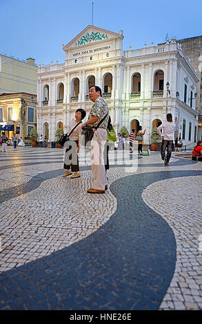 Street scene, Largo do Senado,in background Santa Casa da Misericordia,Macau,China - Stock Photo