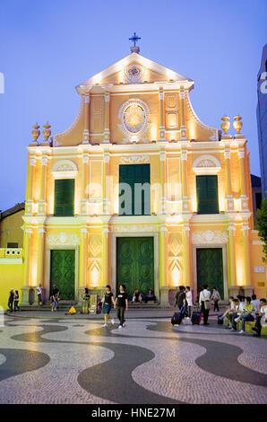 Street scene, Church, St Dominic´s Church, in St Dominic´s square,Macau,China - Stock Photo