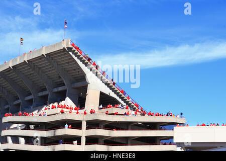 Exterior of College Football Stadium - Stock Photo