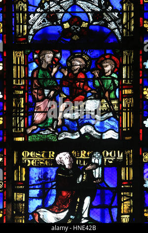 St. Peter walking on the waters. Stained glass window from the 13th century. Chapel of St. Vincent or Notre-Dame - Stock Photo