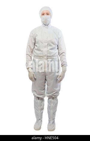 chemist in a white protective suit in full length isolated - Stock Photo