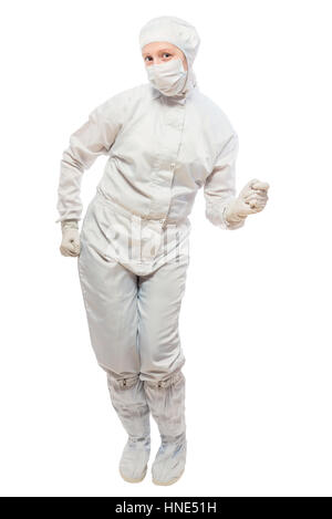 cheerful chemist dancing on a white background isolated in a protective suit - Stock Photo