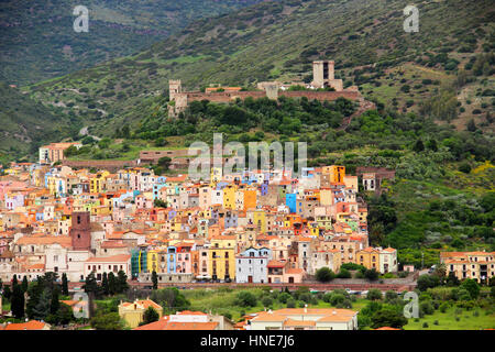 Bosa town with colorful houses and Serravalle's Castle, Oristano province, Sardinia, Italy - Stock Photo