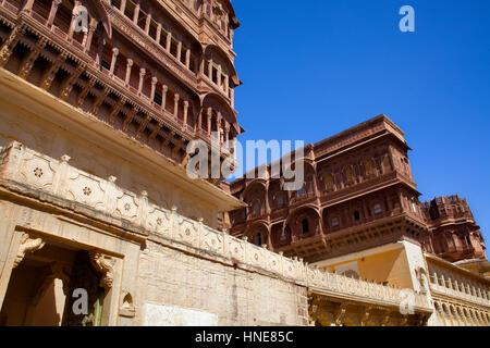 Mehrangarh Fort,inside of the fort,Jodhpur, Rajasthan, India - Stock Photo