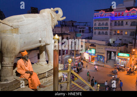 Cityscape from Jagdish Temple,Udaipur, Rajasthan, india - Stock Photo