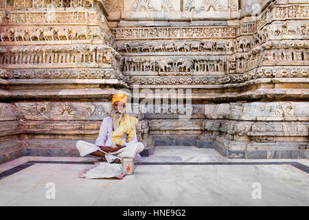 Sadhu (holy man),Jagdish Temple,Udaipur, Rajasthan, india - Stock Photo