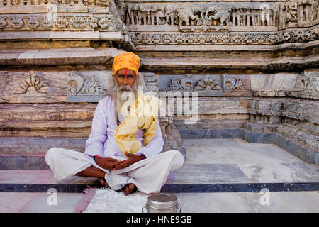 Sadhu (holy man),Jagdish Temple,Udaipur, Rajasthan, india - Stock Photo