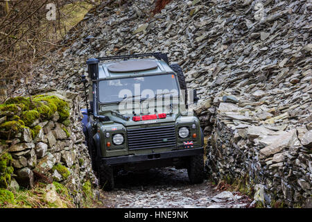 Land Rover on green lane in Little Langdale, Lake District, Cumbria - Stock Photo